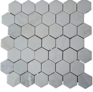 Carrara Hex 2'x2' Marble Mosaic