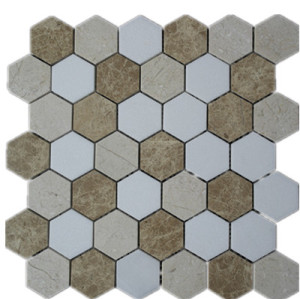 Mutil color  Hex 2'x2' Marble Mosaic