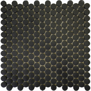 black penny round ceramic mosaic