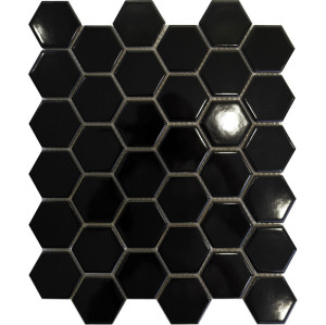 black hex ceramic mosaic
