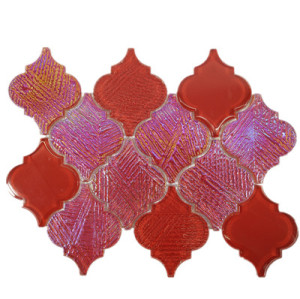 warterjet metallic shiny red glass mosaic tile