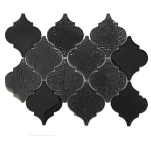 warterjet metallic shiny red glass mosaic tile