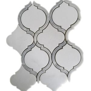 warterjet white marble mosaic tile
