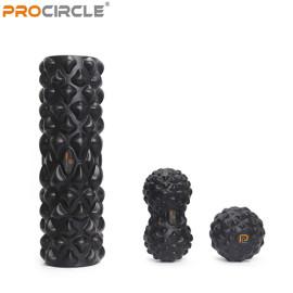 自己設計ブラックテックセット泡ローラーマッサージスティックボール専用サプライヤー