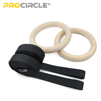 Wooden Gym Rings Nylon Strap Cross Fitness Home Gym Workout Wholesale