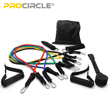ProCircle 11 Pcs Adjustable Resistance Tube Kit Band Set for Workout