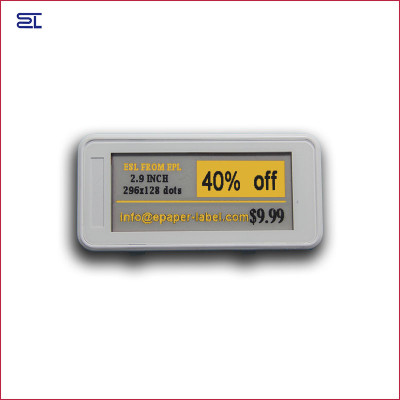2.9inch bluetooth 5.0 white black and  yellow 3 colors digital price tag Eink Electronic Shelf