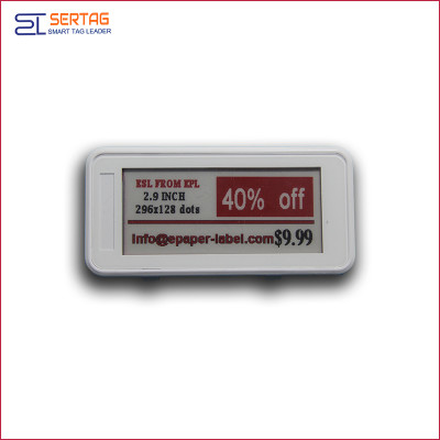 2.9inch bluetooth 5.0 white black & red digital price tag Eink Electronic Shelf Label for warehouse