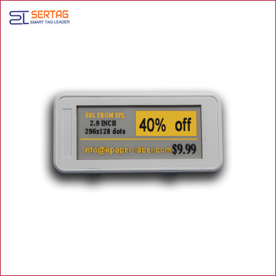 2.9inch bluetooth 5.0 white black & yellow digital price tag E-ink Electronic Shelf Label for warehouse
