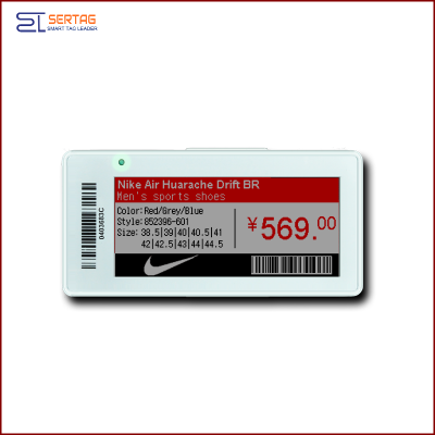 2.9 inch  digital price tag E-ink Electronic Shelf Label with black white and red   for retail
