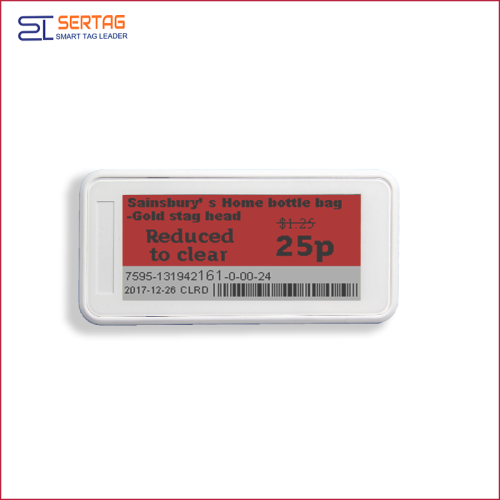 2.9inch bluetooth 5.0 white black & red digital price tag E-ink Electronic Shelf Label for retail