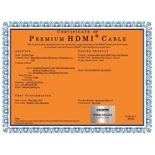 CERTIFICAT DE CABLE HDMI PREMIUM 2M