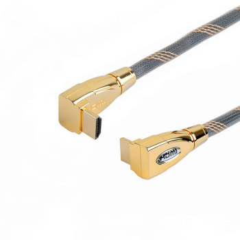 24K Gold Plated 90 degree Zinc Alloy Shell male to male 4k hdmi 2.0 cable