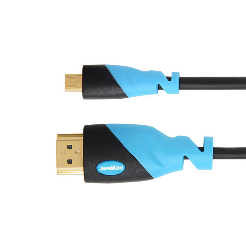High Speed  Mini HDMI Cable with Ethernet, ARC, PS4, XBOX, HDTV  Black+Blue PVC Injection Assembly