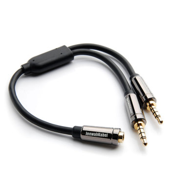 Splitter Headphone for Computer 3.5mm Female to 2 Male 3.5mm Mic Audio Y Splitter Cable Headset to PC Adapter