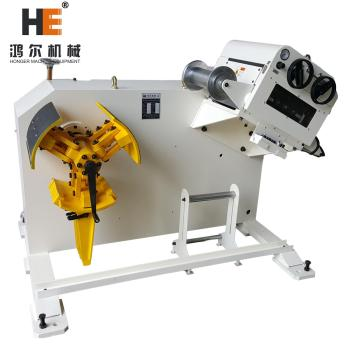GL-500 2 in 1 Decoiler Straightener Combo machine working with coil feeder and press machine