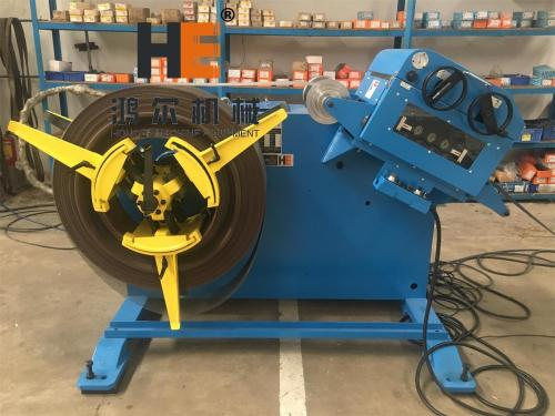 GL-200 2 in 1 Decoiler Straightener Combo machine working with coil feeder and press machine