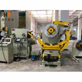 GLK2-500 3 In 1 Servo Feeder Machine With Mechanical Press For Heatsink Stamping Line In LED Light