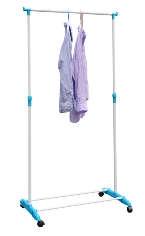Rolling Clothing Garment Rack with Single Rod