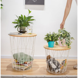 Metal Round Hollow-out Cage-based End Table with Wooden Top