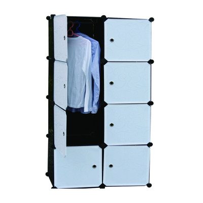 Multi-Funcation 8 Cubes Clothes Wardrobe with Hanging Rod