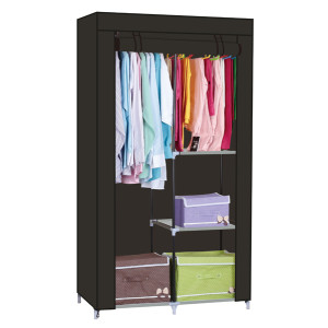 Wardrobe with Shelves and Dustproof Non-Woven Fabric Cover