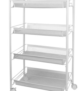 4 Tier Metal Rolling Storage Cart for Kitchen