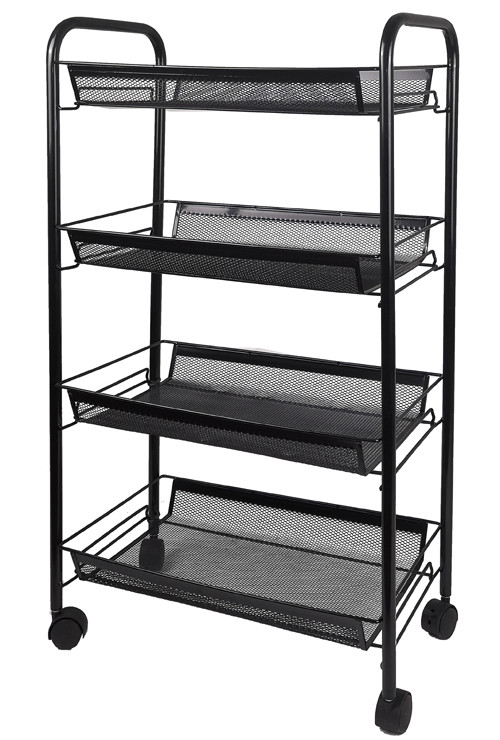 4 Tier Metal Rolling Storage Cart for Kitchen