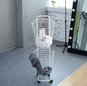 2 Tier Metal Rolling Wire Basket Clothes Trolley Rack