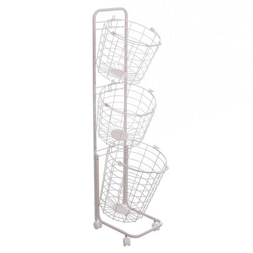 3 Tier Wire Basket Storage Rack with Wheels