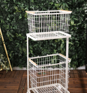 Rolling Laundry Cart with Removable Basket for Bathroom