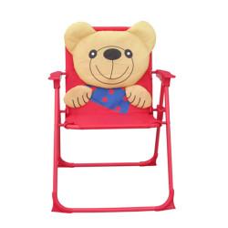 Kids 3D Cartoon Bear Folding Chair with Armrest and High Back