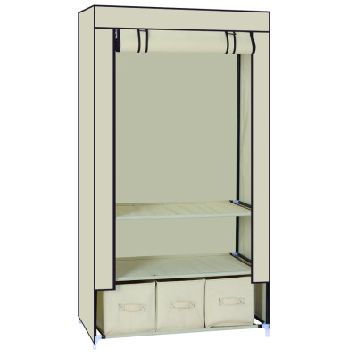 Non-fabric Wardrobe with Shelf and Three Storage Organizer