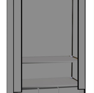 Non-fabric Wardrobe with Shelf and Three Storage Organizer