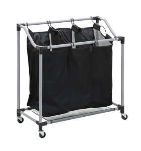 Mobile 3-Bag Heavy-Duty Laundry  Storage Cart