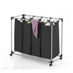 Mobile 4-Bag Heavy-Duty Laundry  Storage Cart