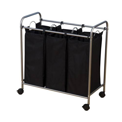 Mobile 3-Bag Heavy-Duty Laundry  Storage Cart with Handle