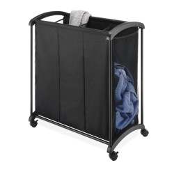 Mobile 3-Bag Heavy-Duty Laundry  Storage Cart with Plastic Handle