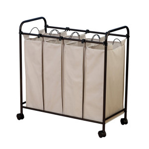 Mobile 4-Bag Heavy-Duty Laundry  Storage Cart with Handle