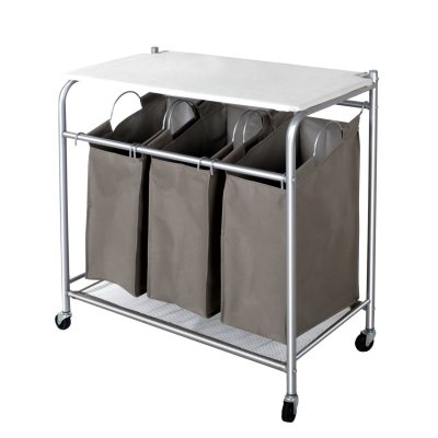 Removable 3-Bag Heavy-Duty Rolling Laundry Cart with Ironing Board