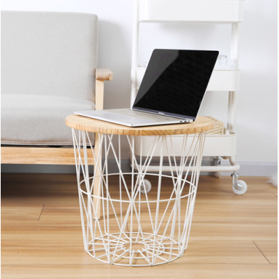 Hollow-out Cage-based Storage Basket with Wooden Top