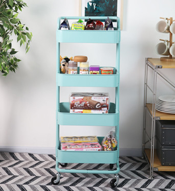 4 Tier Metal Movable Serving Trolley Cart with Handle