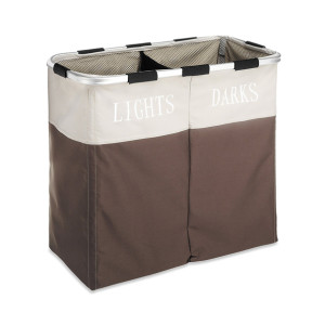 2 Sections Folding Laundry Hamper with Handle