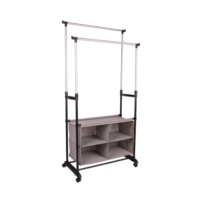 Double Stainless Steel Garment Rack with Storage Organizer