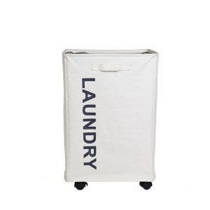 Rolling Rectangle Narrow Laundry Organizer with Handles