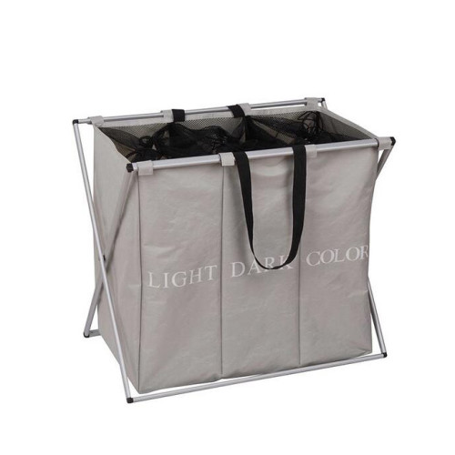 2 Sections Folding Laundry Organizer with Handle