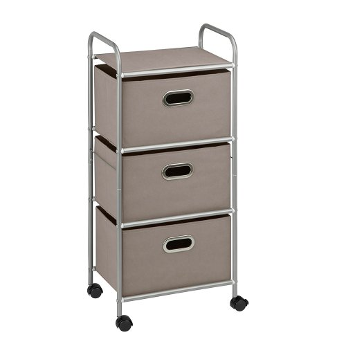 3 Drawer Storage Organizer Rolling Cart with Handles and Board