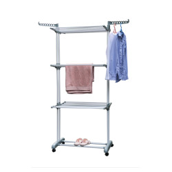 3 Tier Rolling Clothes Drying Rack with Foldable Wings Shape