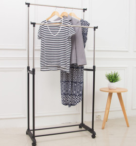 Double Rod Garment Rack with Wheels