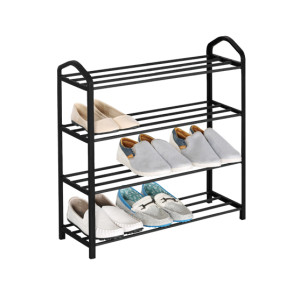 Metal Free Standing 4 Tier Shoe Rack with Handles